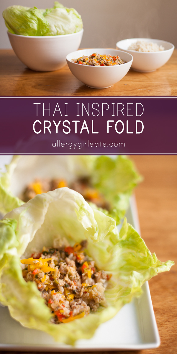 Thai inspired crystal fold is free of soy, gluten, peanuts, treenuts, and sesame seeds. Fish sauce is used to add big flavour to this fun lettuce wrap.