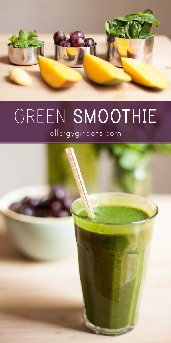 Refreshing green smoothie is a sweet and spicy smoothie made with spinach, mint, ginger, mango and grapes.