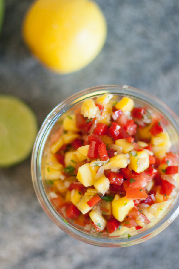 Mango salsa is top 8 free (no nuts, no soy, no sesame). It brightens any meal from grilled chicken to roasted salmon.