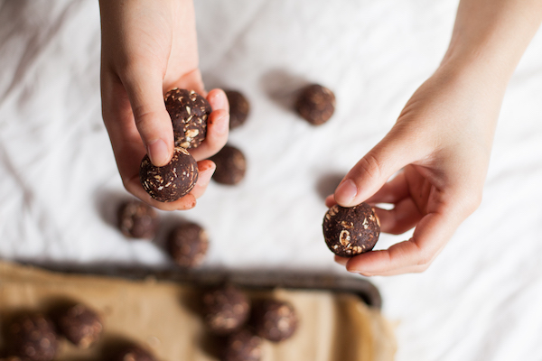 Peanut free, nut free, seed free protein balls. Made with black beans, cocoa, and coconut oil.