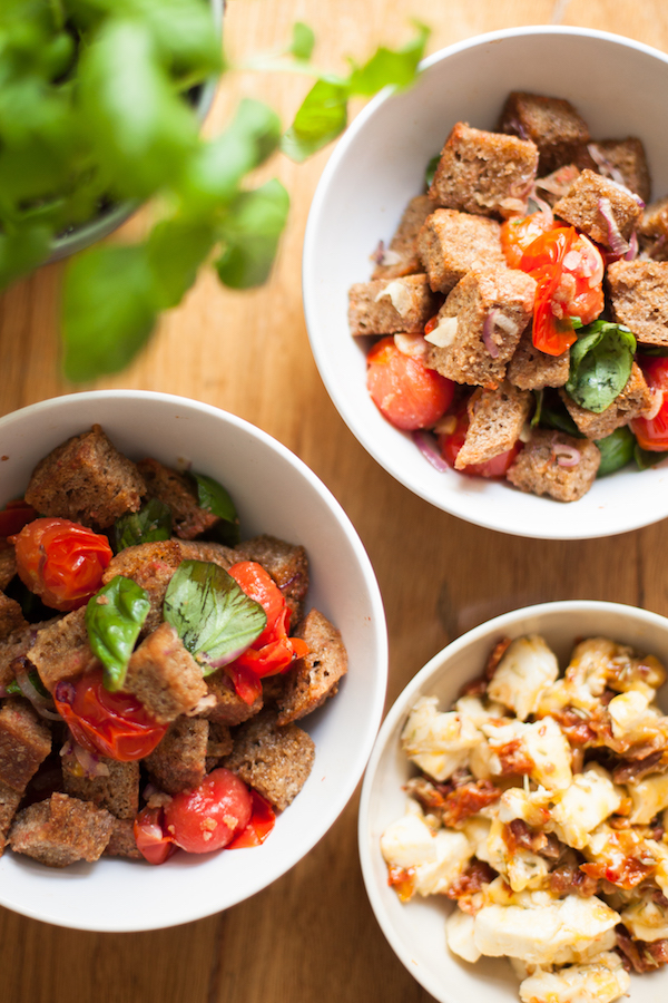 Warm panzanella is a crunchy flavourful dish that delights the tastes buds on so many levels from blistered tomatoes to fresh basil and roasted onions.