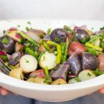 Asparagus Potato Salad is made with baby potatoes and a light honey dijon vinaigrette. Perfect for a summer BBQ! Top 8 Allergen Free.