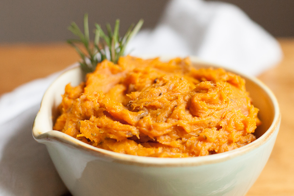 Sweet Potato Mash with caramelised onions is a perfect side dish for Thanksgiving dinner. Only five ingredients, dairy free, nut free, soy free, top 8 free.