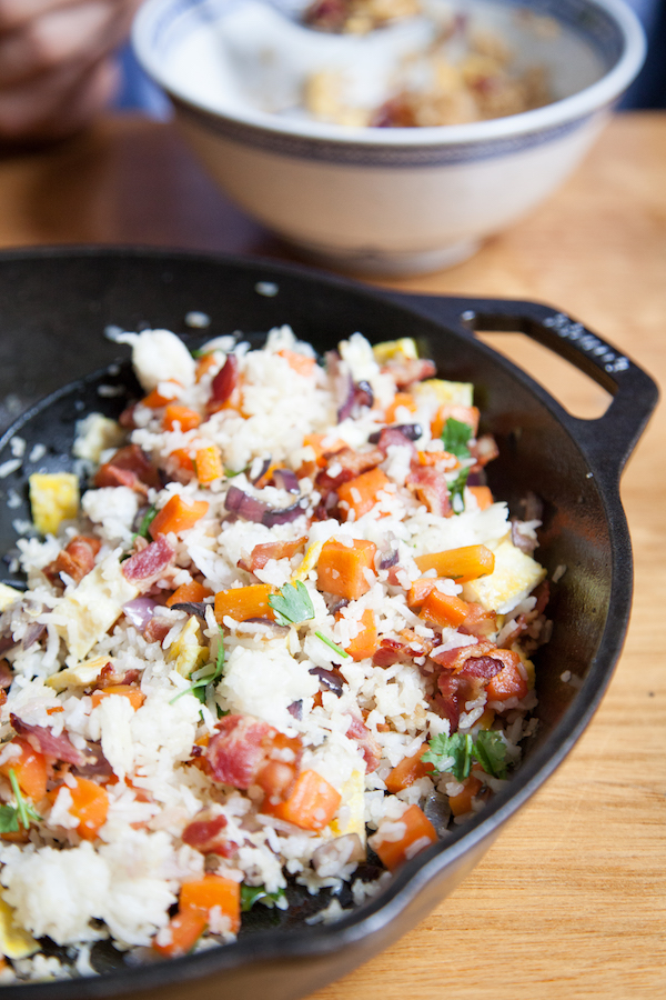 Bacon fried rice the a great way to use up rice leftovers. This fried rice is fully loaded with bacon goodness! No oils just bacon fat.