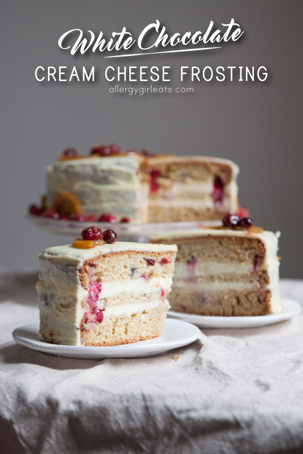 Lemon cranberry pound cake with white chocolate cream cheese frosting