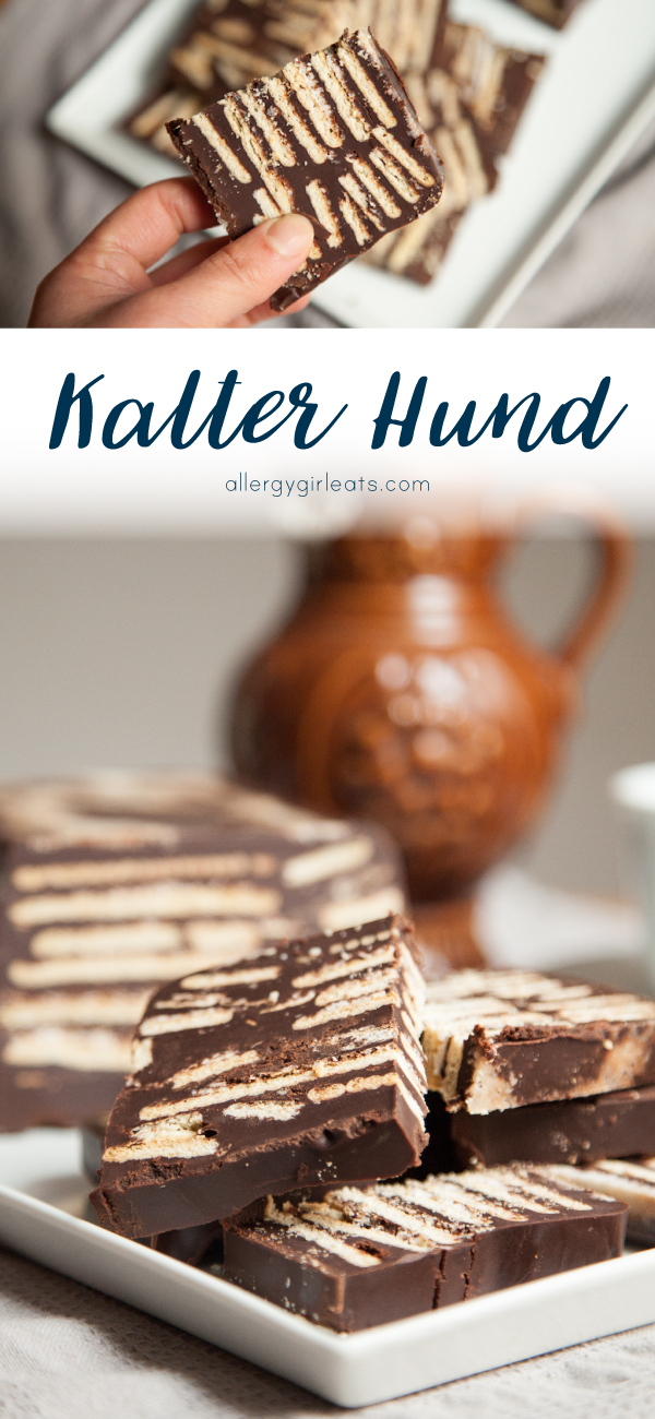 Kalte Hund is a german treat made with chocolate and biscuits. It is easy to make and top 8 free!