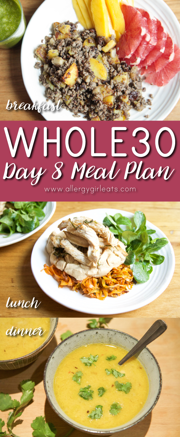 Whole30 Day 8 Meal Plan: Breakfast - sausage potato hash, lunch - turkey and spiralled sweet potato, dinner - creamy curry meat soup
