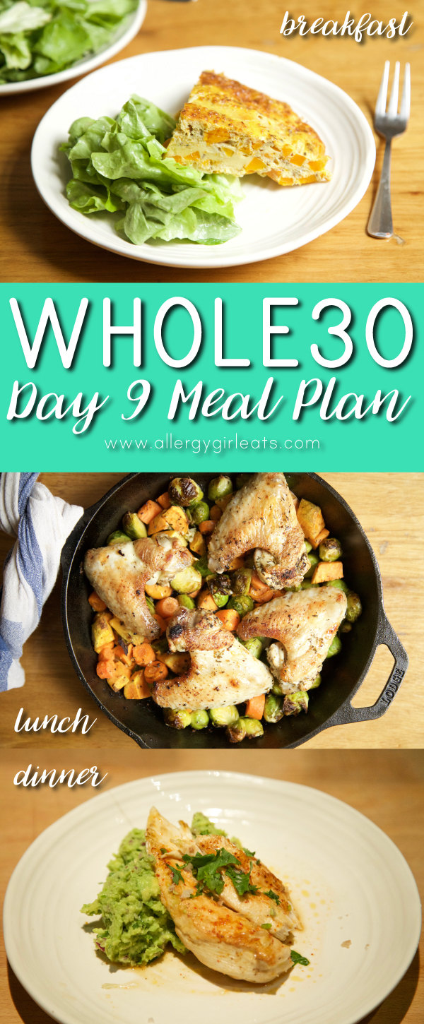 Whole30 Day 9 Meal Plan: Frittata, roasted chicken, guacamole