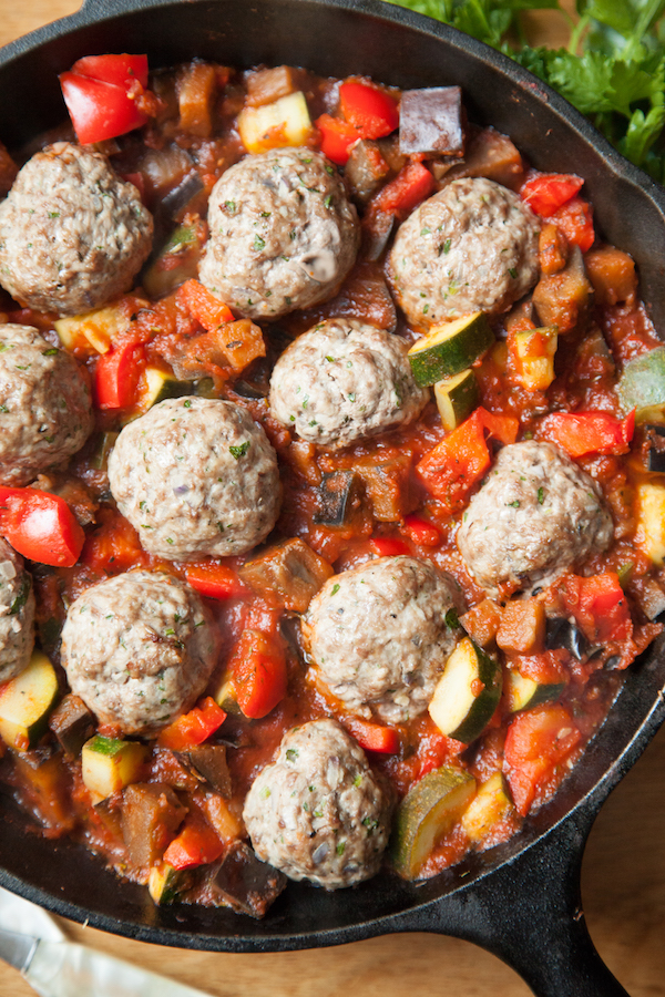 Whole30 Day 1 Meal Plan - Ratatouille & Meatballs