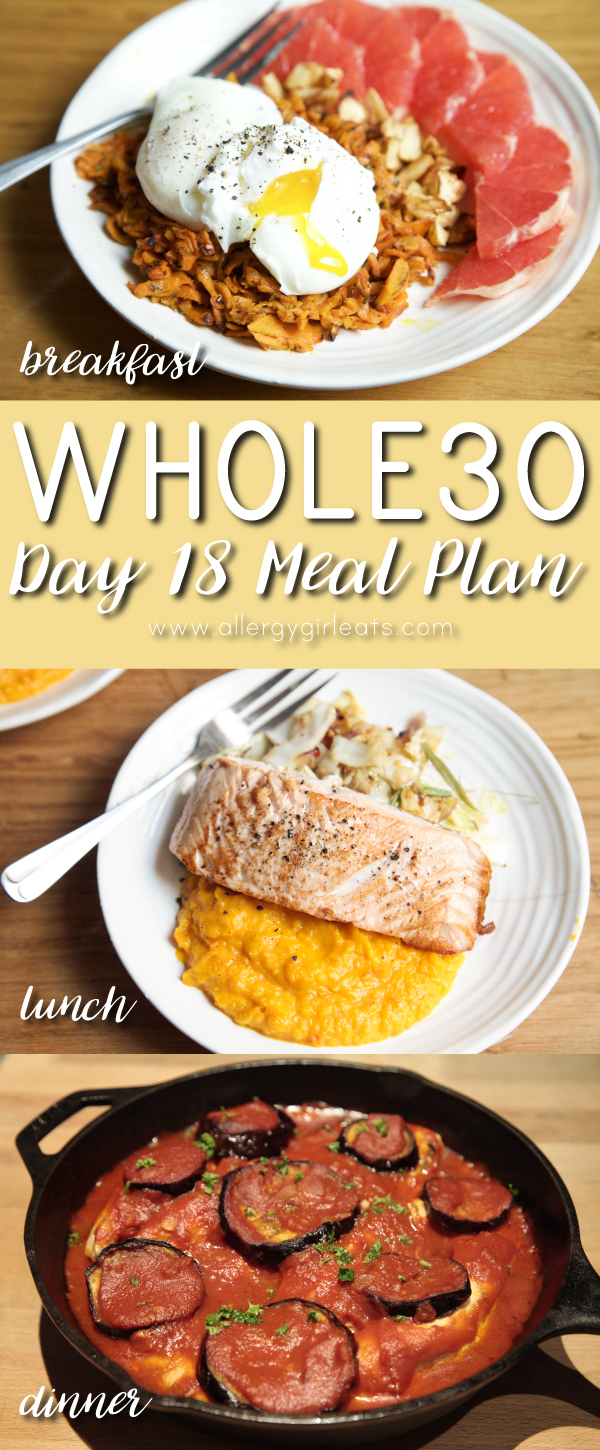 Whole30 Meal Plan Day 18: poached eggs, salmon, chicken bake