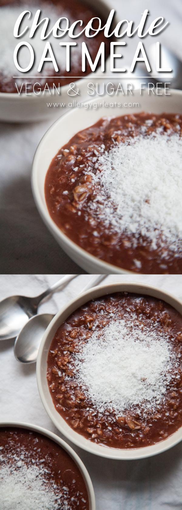Vegan Chocolate Oatmeal - top 8 free & sugar-free oatmeal