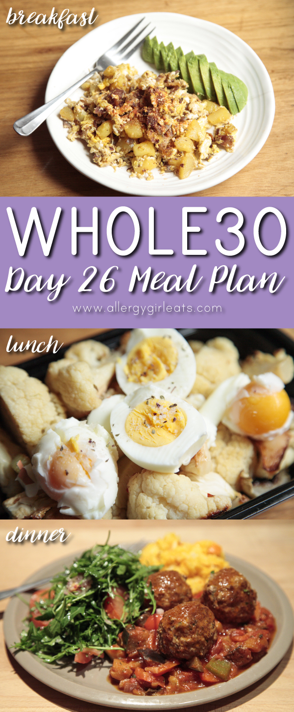 Whole30 Meal Plan Day 26 : bauernfrühstück, cauliflower and boiled eggs, ratatouille and meatballs