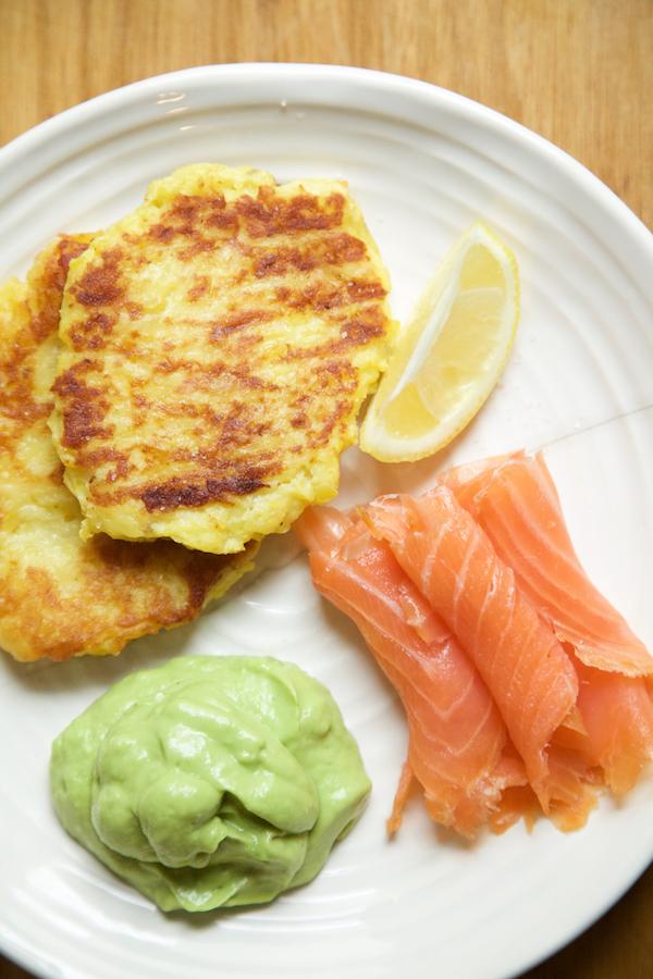 Whole30 Meal Plan Day 22 - breakfast- potato pancakes and smoked salmon