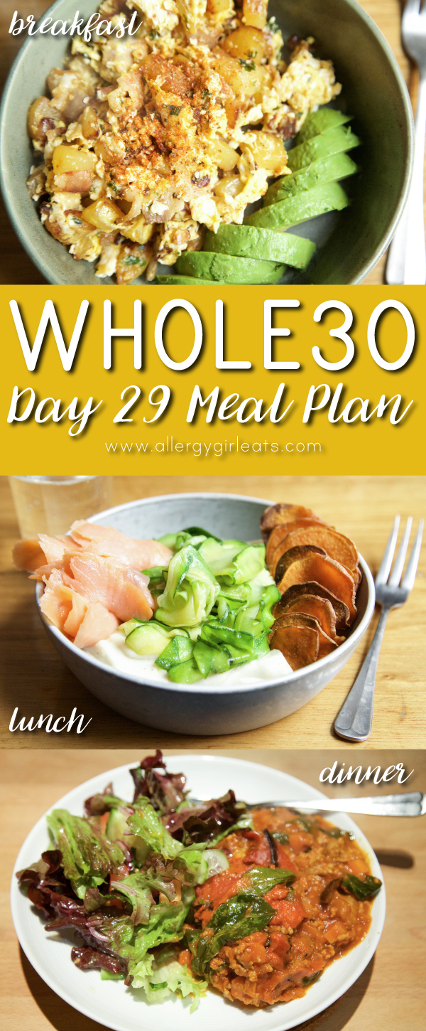 Whole30 Meal Plan Day 29: Bauernfrühstück, smoked salmon and zooedles, aubergine bolognese