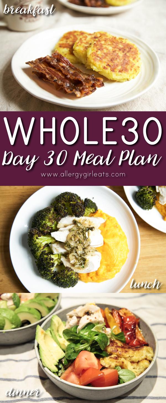 Whole30 Meal Plan Day 30 - potato pancakes, chicken and broccoli, big salad