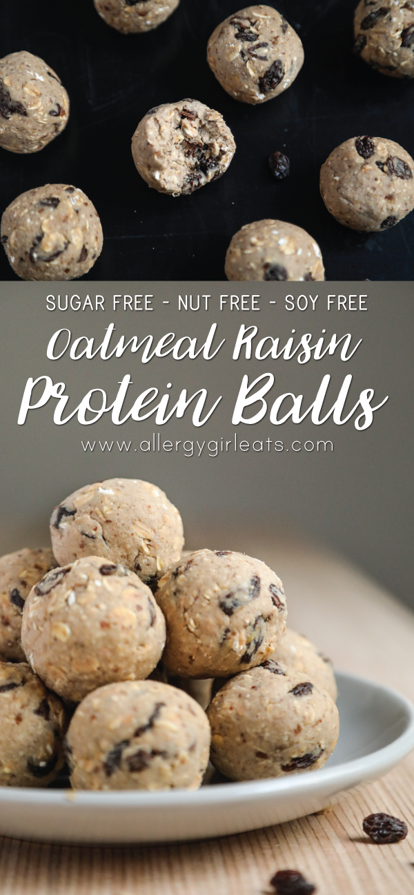 Sugar free, top 8 free, nut free oatmeal raisin protein balls
