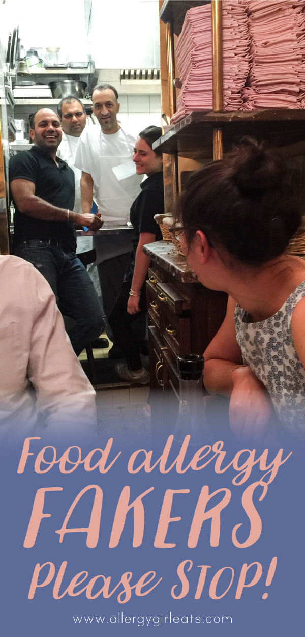 Food allergy fakers, please stop. Faking food allergies at restaurants is dangerous for the people with actual allergies.
