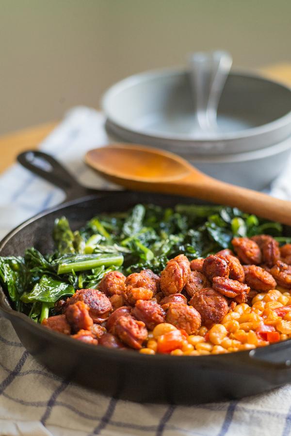 Chorizo, Beans & Dark Greens - allergy friendly dinner - top 8 free